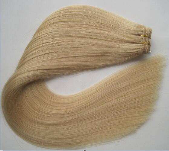 Best selling double drawn blonde hair 100% human brazilian hair weave
