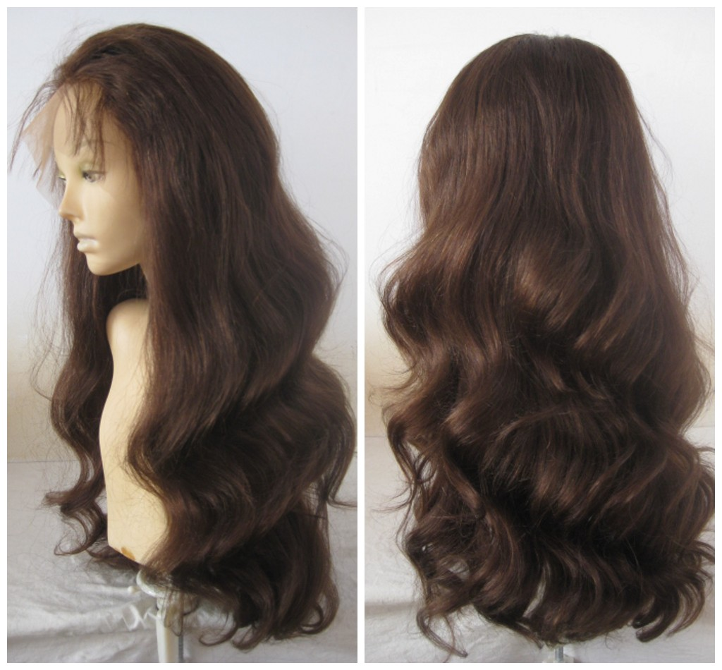 Popular Loose wavy Hair remy virgin 100% brazilian peruvian virgin human hair full lace front wigs
