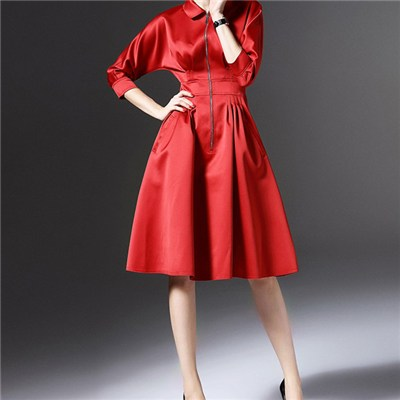 Cute Peter Pan Collar Long Zipper Fastening Fitted Waistband Elbow Length Sleeve Dress