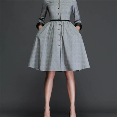 Vintage Peter Pan Collar Button Placket GreyBracelet Length Sleeve Dress With Flaring Skirt