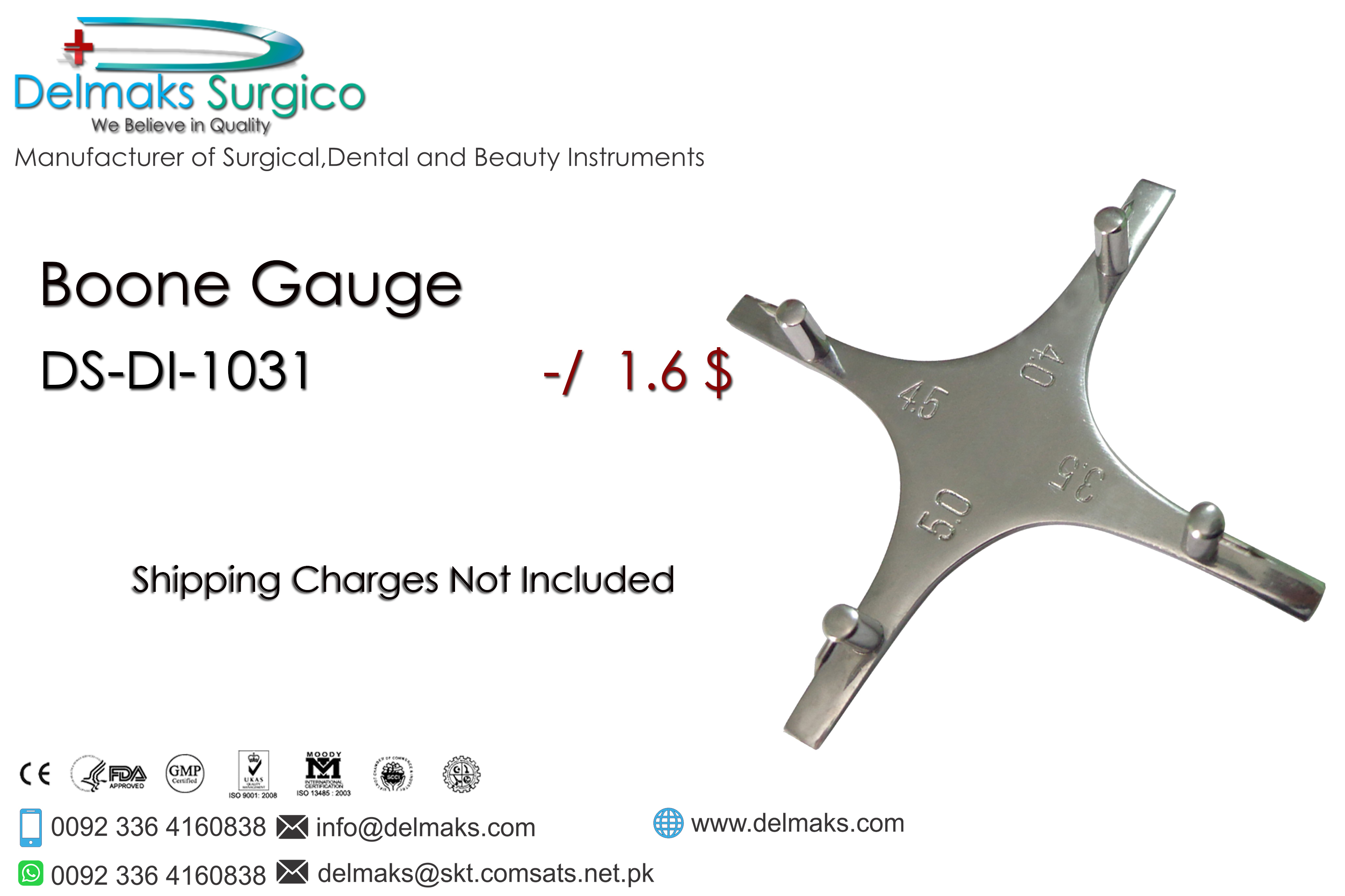Boone Gauge-Measuring Instruments-Orthodontic Instruments-Dental Instruments-Delmaks Surgico