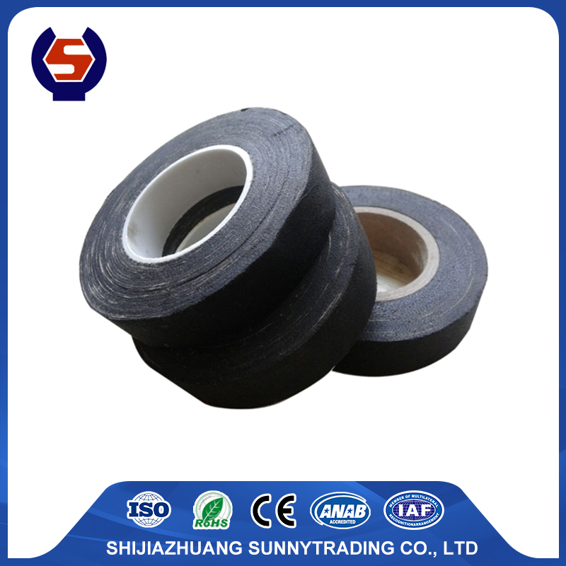 Rubber adhesive black cotton fabric insulation tape