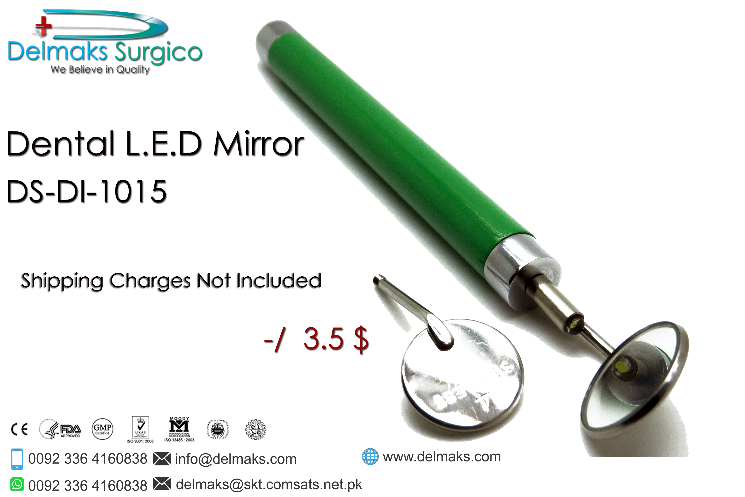 Dental LED Light Mirror-Dental Mirrors-Dental Instruments-Delmaks Surgico