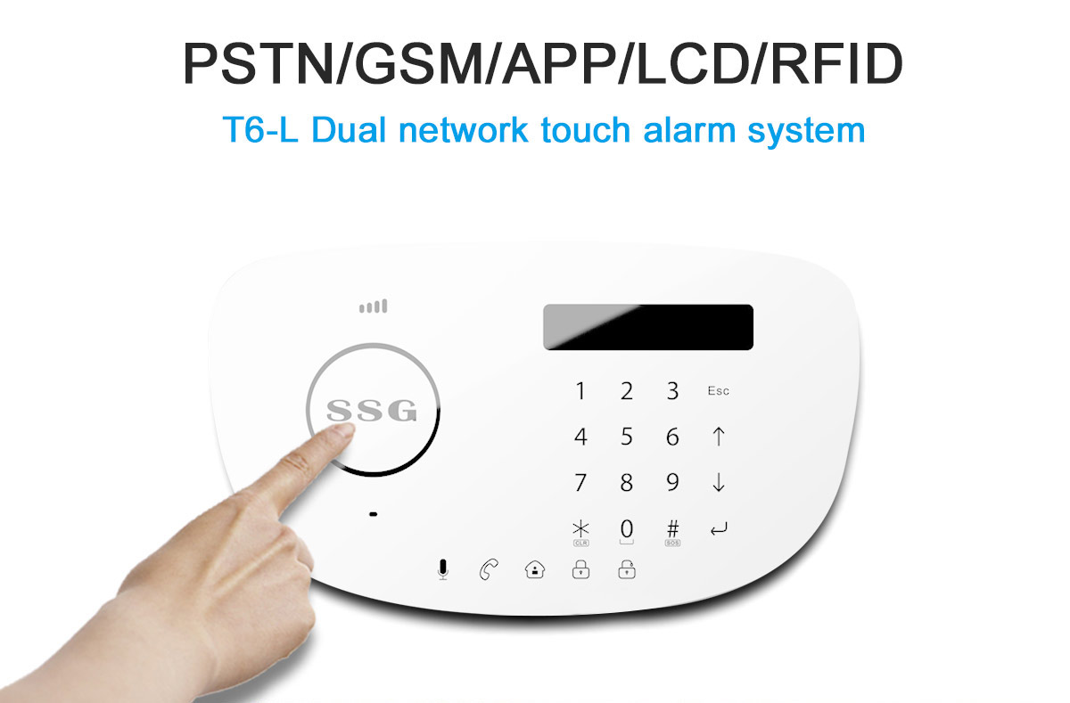 SSG T6L Screen Touch Keypad Smart Intelligent PSTN GSM Alarm System for Apartment