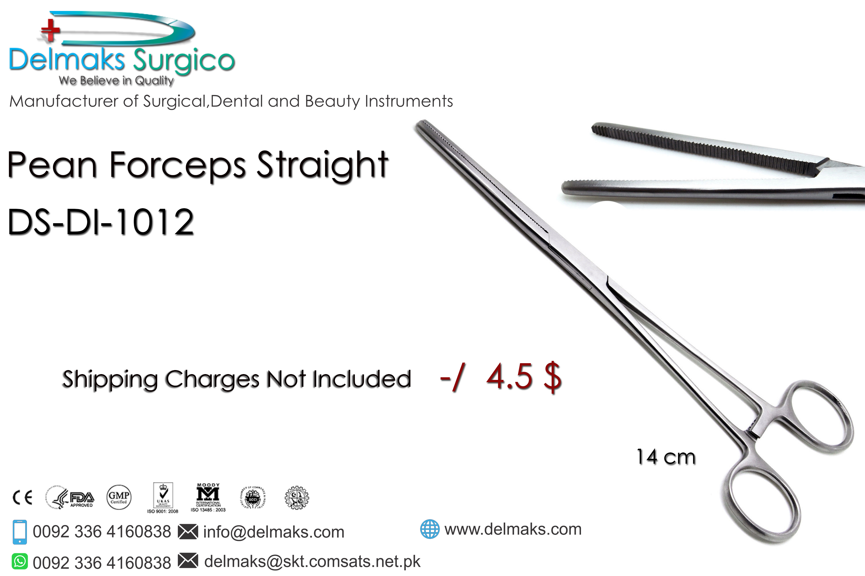 Pean Forceps Straight-Haemostat Forceps-Dental Instruments-Delmaks Surgico