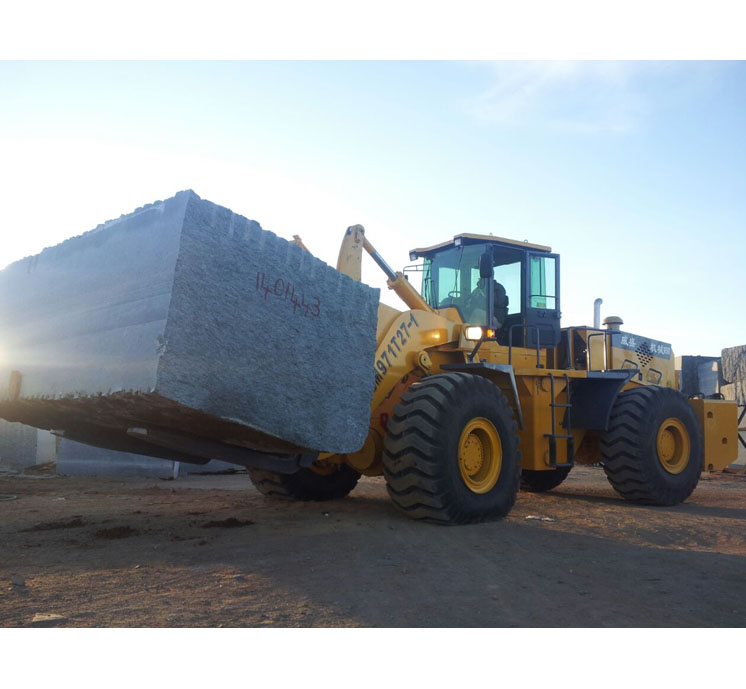 marble wheel loader forklift with 27 ton rated loading for rough terrain transporting