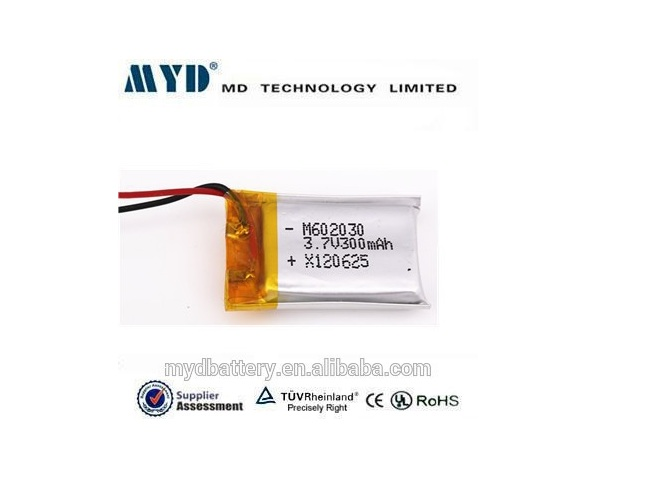 602030 3.7v li-polymer battery 300mah watch batteries