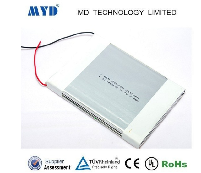 3.7v 2000mah 356490 li-po battery for mobile phone and tablet pc