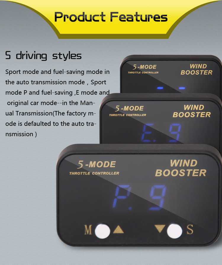 Windbooster car performance parts 5-mode electronic throttle controller
