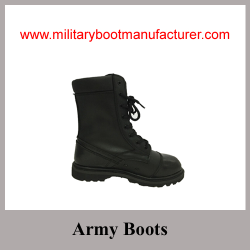 Wholesale China Made Black Full Leather Military Combat Boots