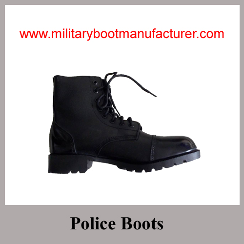 Wholesale China Made Black Full Grain Leather Ankle Combat Boot