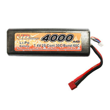 China Battery Manufacturer 7.4V/4,000mAh Lithium Polymer Battery Pack For RC Cars With 30c Continuous Discharge Current