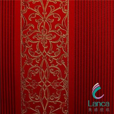 Good Use Hot Sale Interior Decoration Deep Embossed Pvc Classic Bedroom Wallpaper LCPH0930103