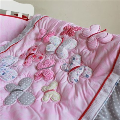 Lace Applique 3D Butterflies/Butterfly Design Baby Comforter Quilt Set