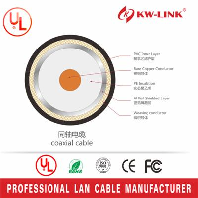 50ft RG6 Coaxial Cable Shielded UL rated RoHS 75 Ohm 3Ghz RG-6 Digital SATELLITE CABLE