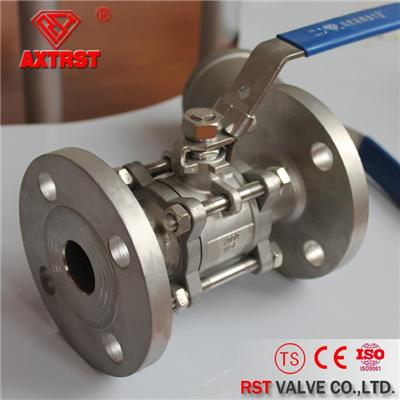 API/DIN Standard 3PC Flanged Stainless Steel Ball Valve PN16/25/40/64 1/2''~6''