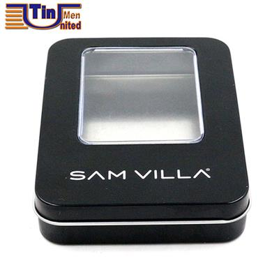 Small Rectangular USB Flash Drive Tin Can With A PVC Window