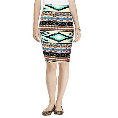 Trendy Elegant Lady Vintage Beautiful Knee-Length Pencil Skirt Elastic High Waist Tribal Print Pencil Skirt