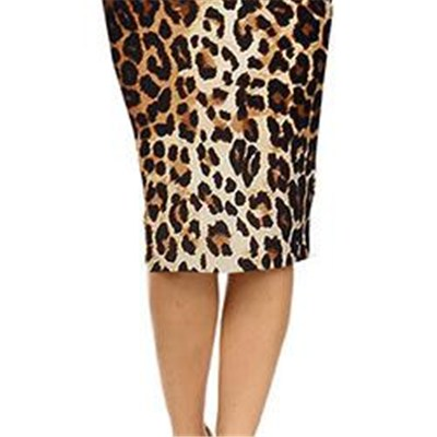 New Fashion Women Summer Sexy Wild Leopard Print High Waist Ladies Knee-Length Pencil Skirts