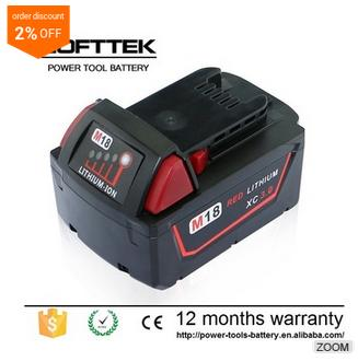Cordless Lithium Drill Battery For Milwaukee Battery 18V 3.0AH Milaukee Sumsung LG Sanyo Cells