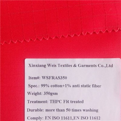 100% Cotton Pyrovatex 350gsm Flame Retardant Fabric
