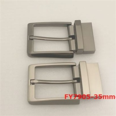 Two-joint metal pin belt buckle, reversible clip function, middle teeth open, for casual men's belt