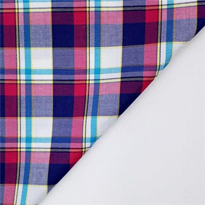 Cotton Silk Check For High Grade Shirts With Wrinkle Free