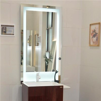 IP44 ROHS Certification Frameless Lighted Fogless Shower LED Illuminated Touch Switch Magnifying Bathroom Mirror