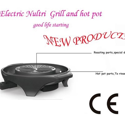 Korean Style Round Mini Professional Patent Electric Grill With Soup Pan Multi-function Die-casting Electric Grill With Hotpot