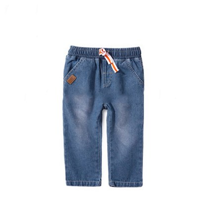 Girls' 100%cotton Denim Ventilate Printed And Soft Long Pants With Two Pockets