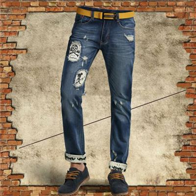 New Fashionable Boys' Light Denim Embroidered Pants With Metal Zipper And Pockets