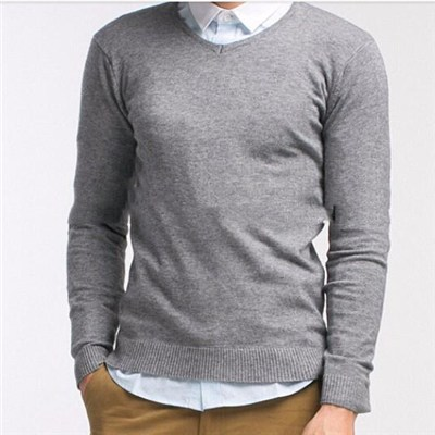 Men's Striped Soft And Comfortable 100%cotton Crew Neck Pullover