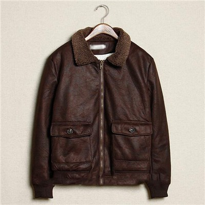 Morden Men Latest Design Pure Hand Genuine Leather Winter Jacket With Zipper