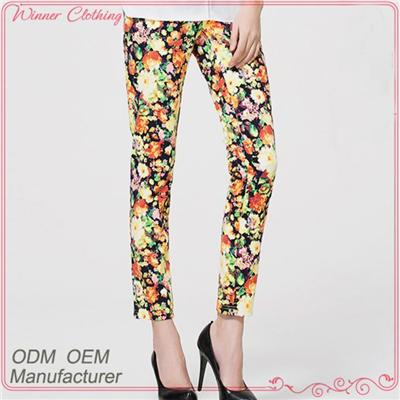 Fashional Hot Sale Women's Casual Printed Pants With Pockets And Zipper