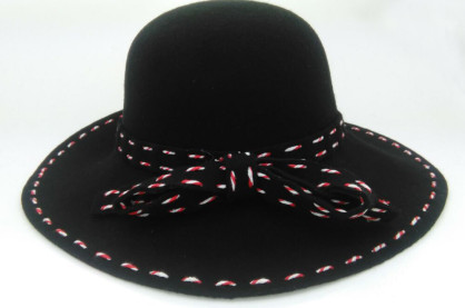 wavyedge string black wool felt round top hat