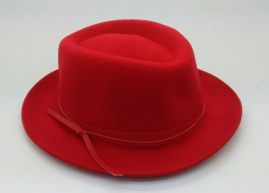 wool felt homburg hat with leather belt 100% wool