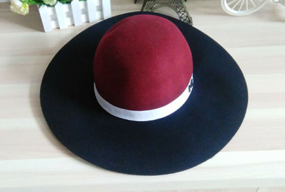 women pure wool felt round top hat with wide brim