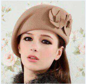 camel wool felt beret hat with double flowers