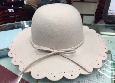 hotsale ladies high fashion fake wool felt wide brim bowknot hat