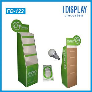 Factory Supplier Free Standing Corrugated Cardboard Box Display Stand For LED Bulbs