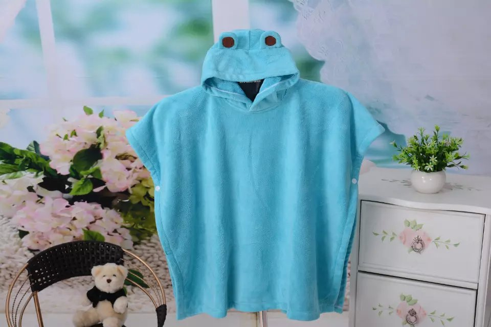 100% polyester beach hooded towel ponchos towel for kids