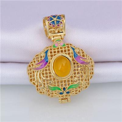 Canary Stone Dome Gemstone Smooth Big Pendant