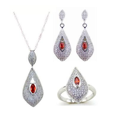 Wholesale Alibaba Jewelry Ladies Cubic Zirconia Jewelry Necklace Earrings Ring Set