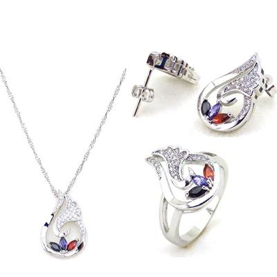 2016 Fashion Jewelry Colorful Cubic Zirconia Necklace Set For Women