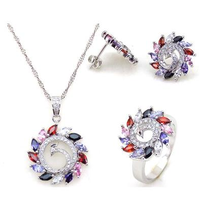 New Arrival Fashion Round Shaped Bridal Cubic Zirconia Diamonds Jewelry Set