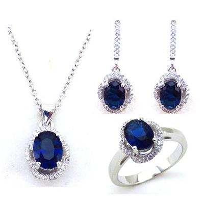 Classic Fashion Design Blue Ziron Jewelries Bridal Party Jewelry Set For Women