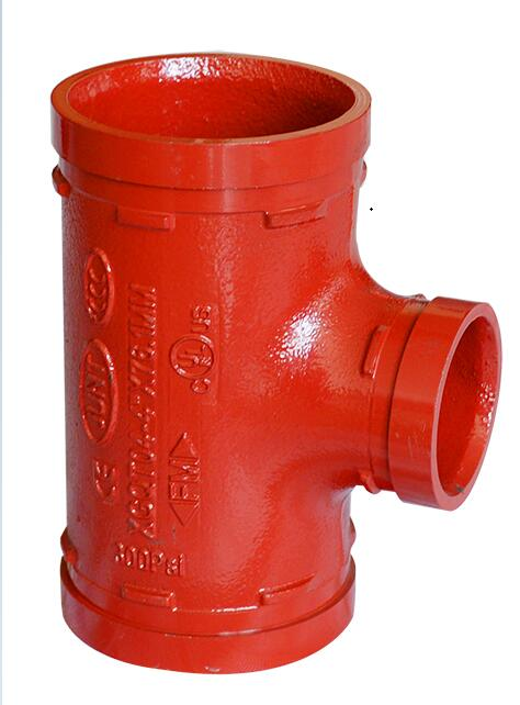 FM/UL Approved Grooved Reducing Tee Fire Fighting Ductile Iron Grooved Pipe Fitting