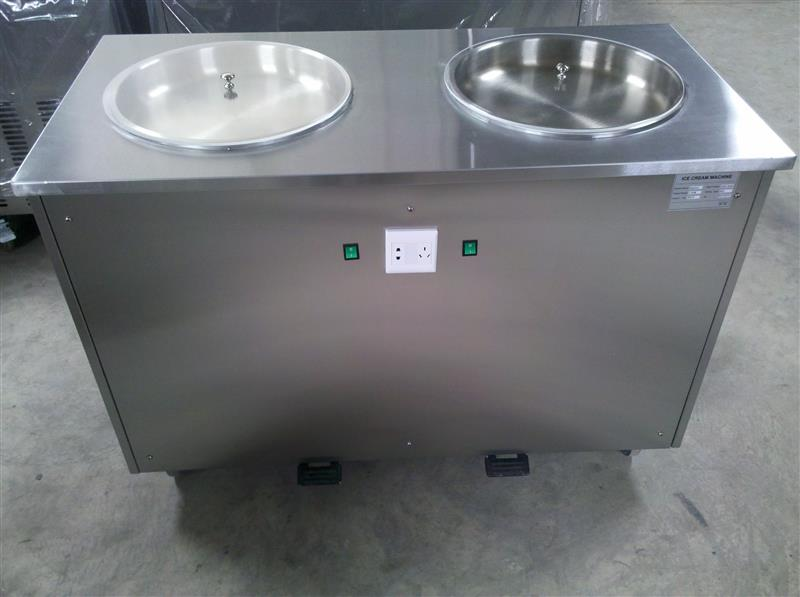 double pan flat pan commercial  fried rolls ice cream machine