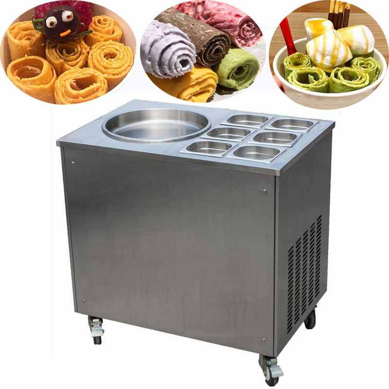 instant ice cream rolls machine with topping storages