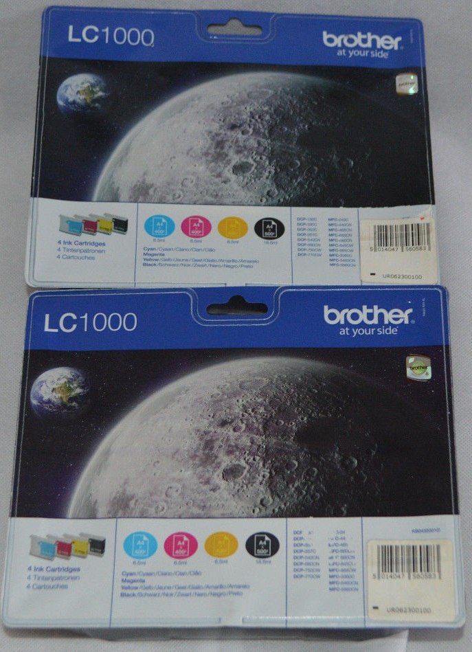 Genuine Brother LC1000 Value Pack Ink Catridges Cyan + Magenta + Yellow + Black ....$5 USD